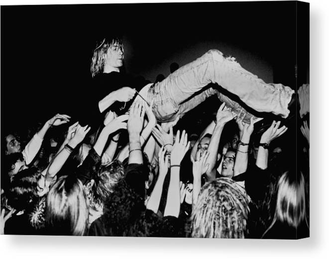 Music Canvas Print featuring the photograph Photo Of Kurt Cobain And Nirvana And by Paul Bergen