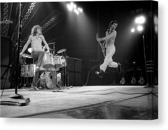 Music Canvas Print featuring the photograph Photo Of Pete Townshend And Roger by David Redfern