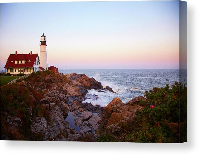 Scenics Canvas Print featuring the photograph Portland Head Lighthouse At Sunset by Thomas Northcut