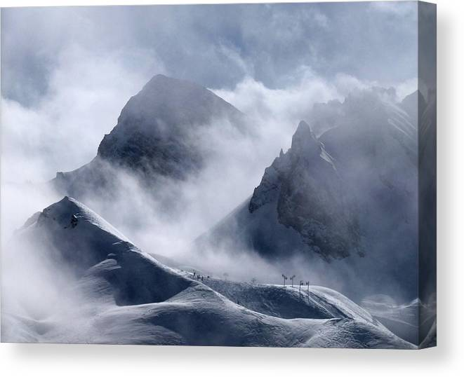Scenics Canvas Print featuring the photograph Pyramide And Roc Merlet In Courchevel by Niall Corbet @ Www.flickr/photos/niallcorbet