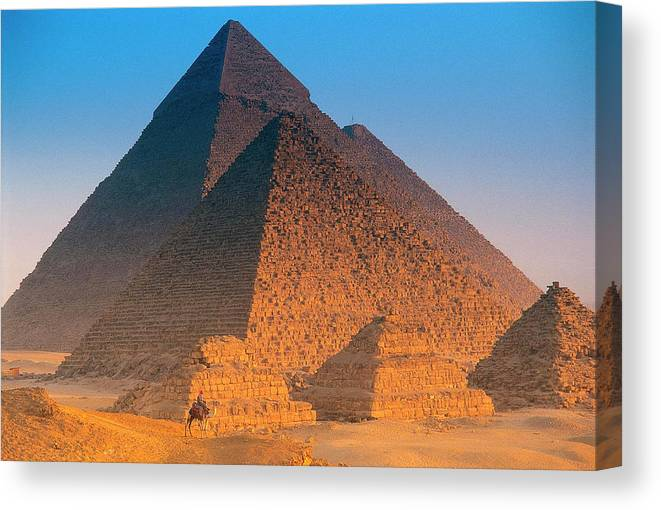 Majestic Canvas Print featuring the photograph Pyramids, Cairo, Egypt by Peter Adams