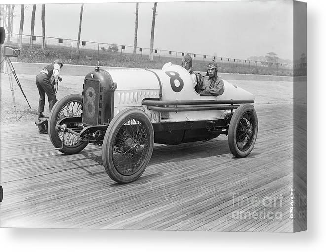 People Canvas Print featuring the photograph Racecar At Sheepshead Bay Track by Bettmann