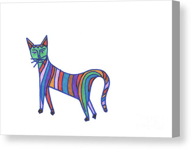 Rainbow Cat Canvas Print featuring the drawing Rainbow Cat by Daisy De Villeneuve