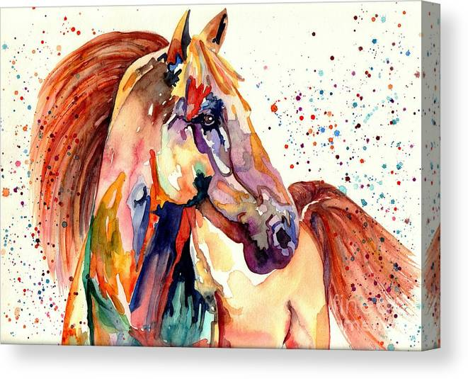 Watercolor Canvas Print featuring the painting Rainy Horse by Suzann Sines