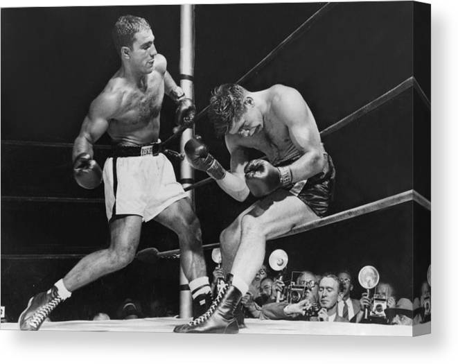 People Canvas Print featuring the photograph Rocky Marciano by Keystone
