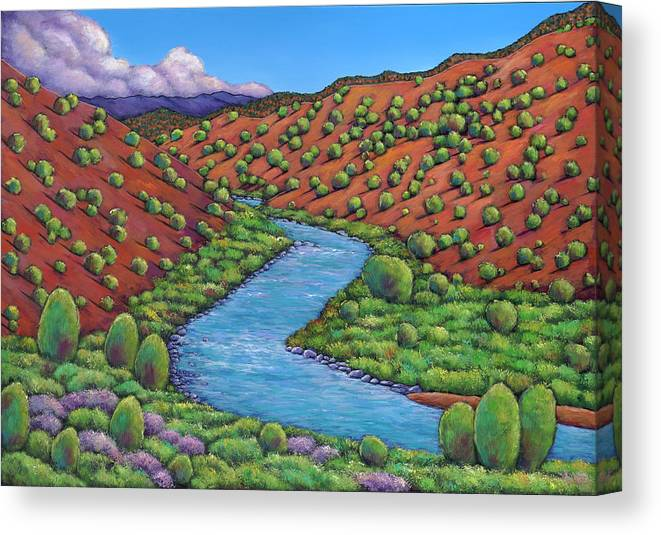 Landscape Canvas Print featuring the painting Rolling Rio Grande by Johnathan Harris