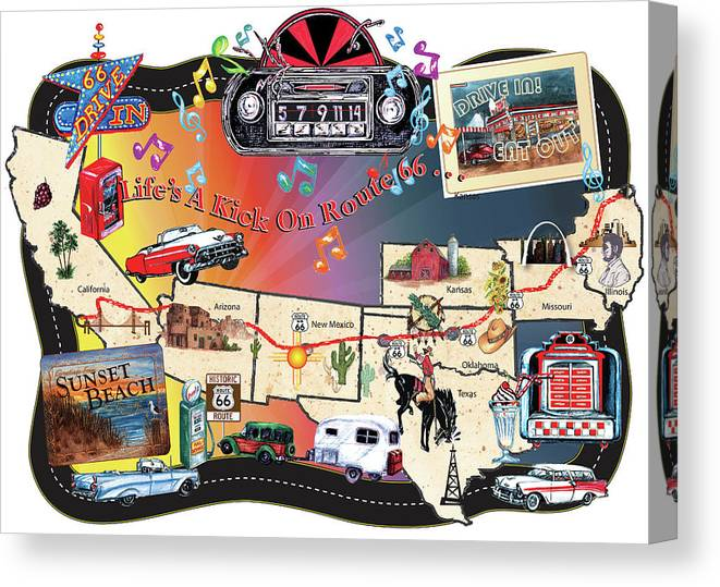 Route 66 Map Sign Canvas Print featuring the digital art Route 66 Map Sign by Sher Sester