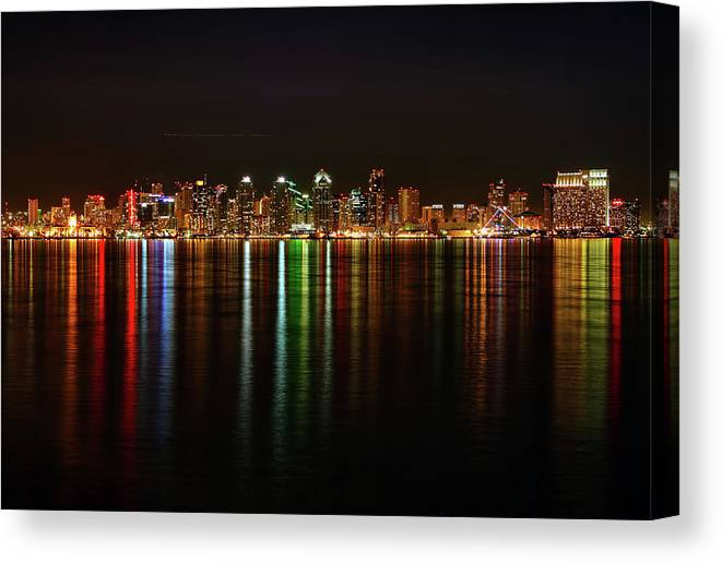 California Canvas Print featuring the photograph San Diego Skyline From Harbor Island by David Toussaint