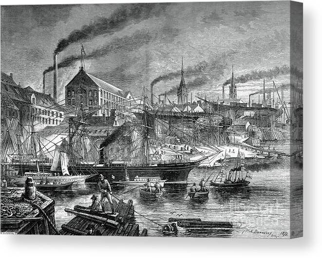 Engraving Canvas Print featuring the drawing Shipyards And Shipping On The Clyde by Print Collector
