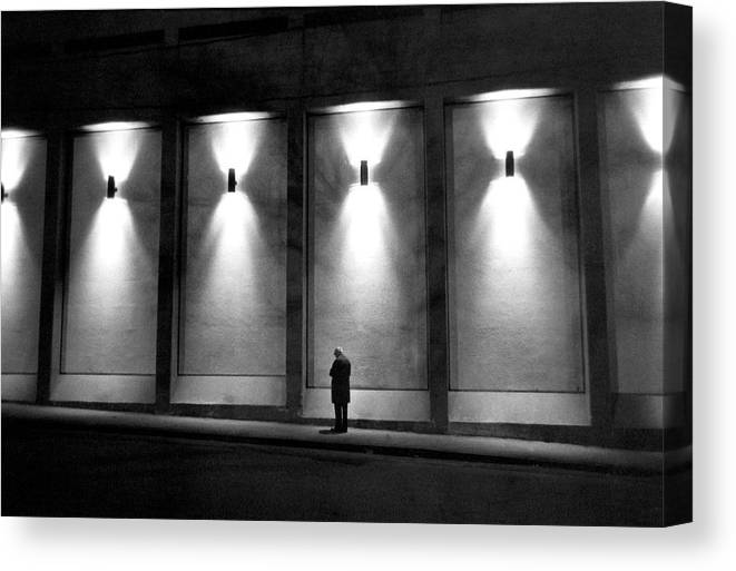 People Canvas Print featuring the photograph Solitude In Quebec, Canada - by Herve Gloaguen