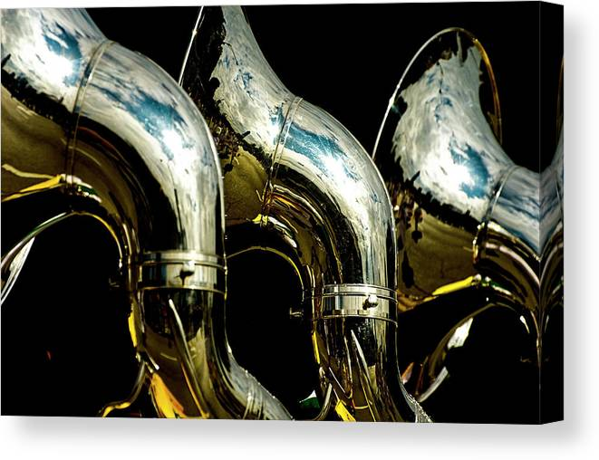 Music Canvas Print featuring the photograph Souzaphones On Parade by By Ken Ilio