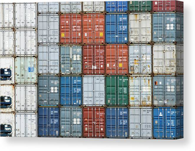 Trading Canvas Print featuring the photograph Stack Of Cargo Containers Full Frame by Andy Andrews