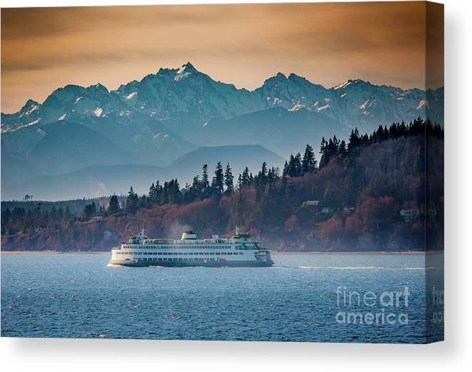 Seattle Canvas Print featuring the photograph State Ferry and the Olympics by Inge Johnsson