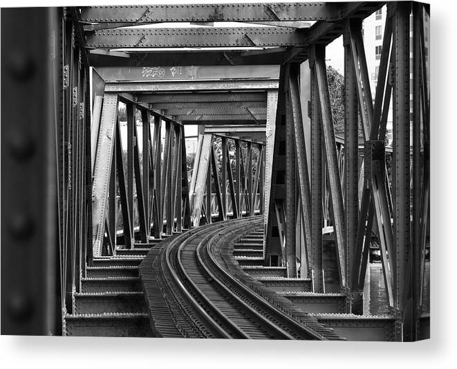 Railroad Track Canvas Print featuring the photograph Steel Girder Railway Bridge by Peterjseager
