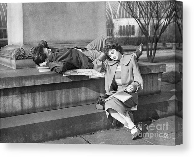 Education Canvas Print featuring the photograph Students Study Outdoors In Warm Sun by Bettmann