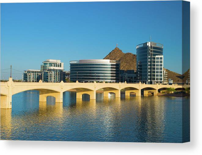 Salt River Canvas Print featuring the photograph Tempe Skyline, River, And Bridge by Davel5957