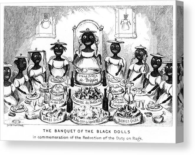 Engraving Canvas Print featuring the drawing The Banquet Of The Black Dolls, 19th by Print Collector