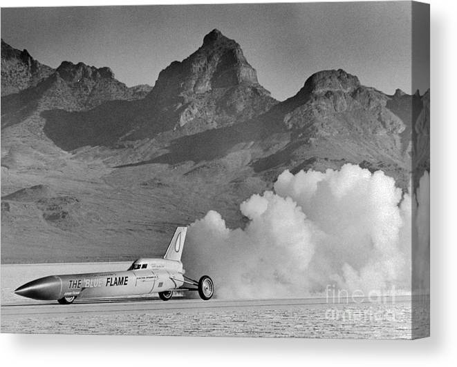 Car Canvas Print featuring the photograph The Blue Flame At Bonneville Salt Flats by Bettmann