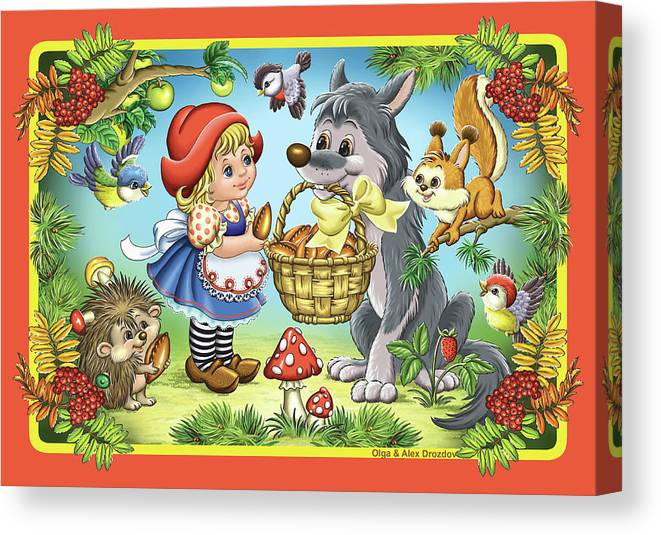 Wolf Canvas Print featuring the digital art The Little Red Riding Hood by Olga And Alexey Drozdov