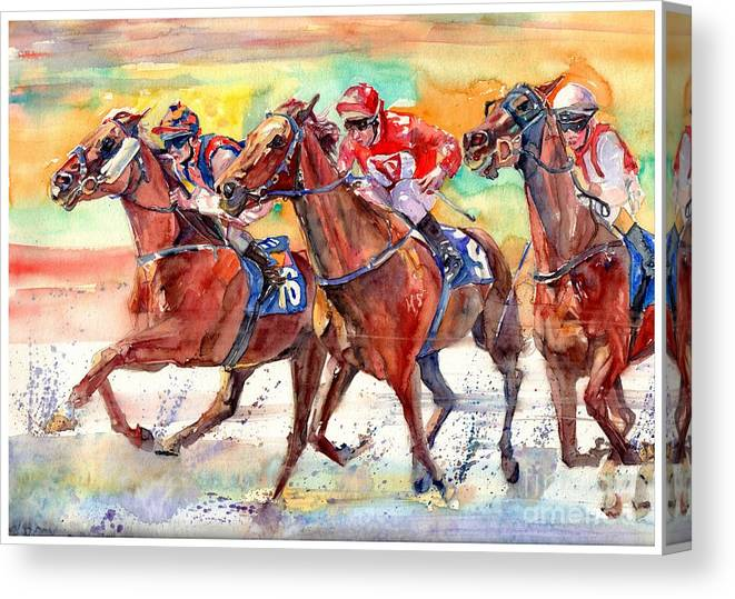 Horse Canvas Print featuring the painting Thoroughbred Racing by Suzann Sines