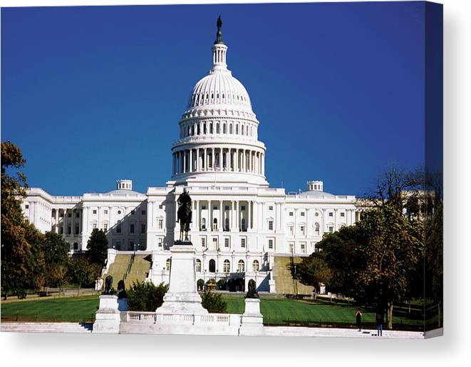 Statue Canvas Print featuring the photograph U.s. Capitol Building In Washington by Medioimages/photodisc