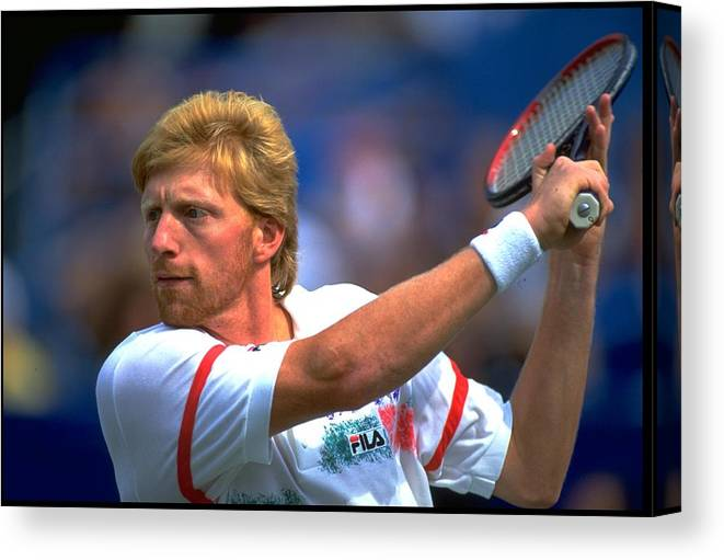 Tennis Canvas Print featuring the photograph Us Open Becker Ger by Simon Bruty