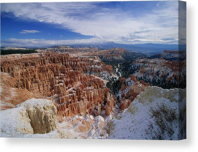 Snow Canvas Print featuring the photograph Usa, Utah, Winter Bryce Canyon by Stan Osolinski