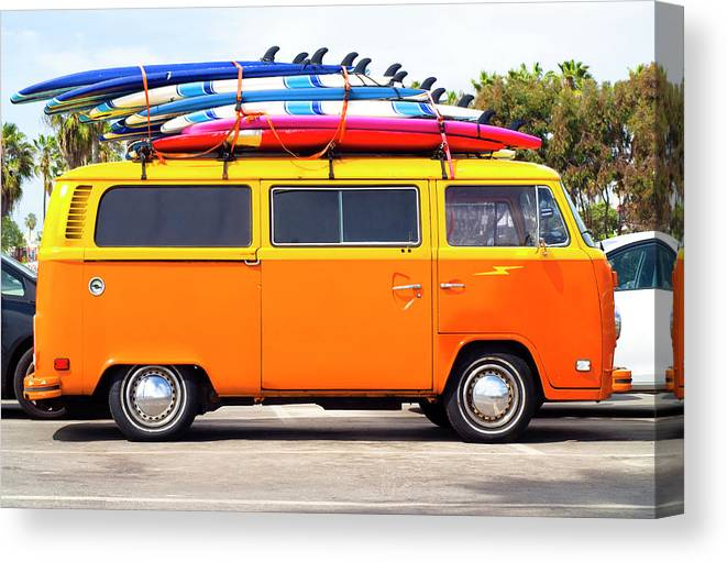 Youth Culture Canvas Print featuring the photograph Volkswagen Bus With Surf Boards by Pete Starman