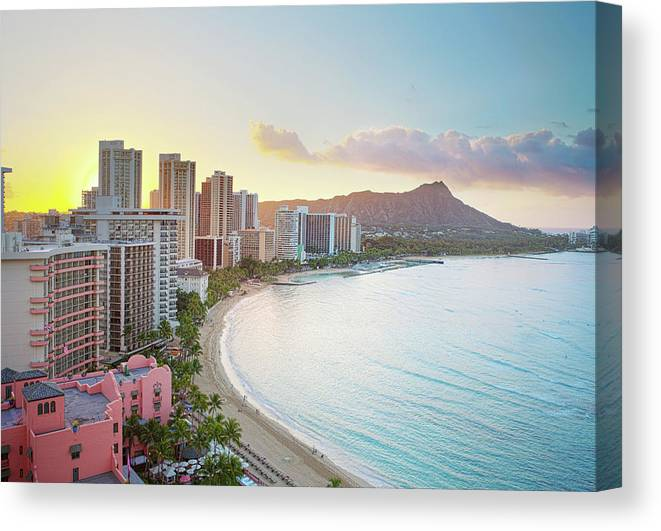 Scenics Canvas Print featuring the photograph Waikiki Beach At Sunrise by M Swiet Productions