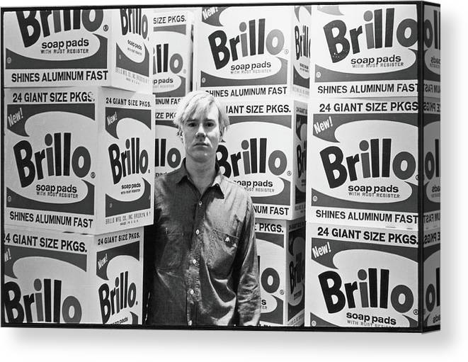 Artist Canvas Print featuring the photograph Warhol & Brillo Boxes At Stable Gallery by Fred W. McDarrah