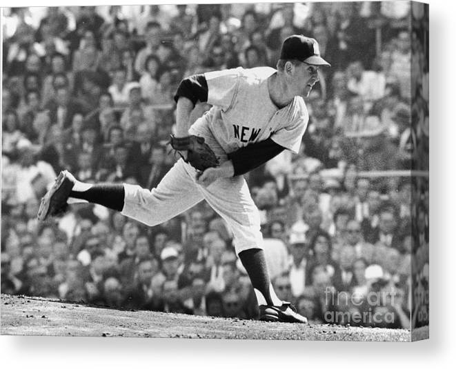American League Baseball Canvas Print featuring the photograph Whitey Ford On The Pitchers Mound by Robert Riger