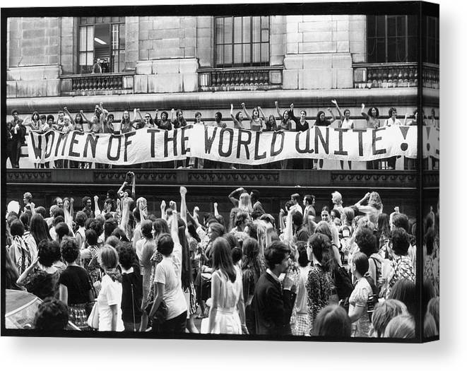 Marching Canvas Print featuring the photograph Women Of The World Unite by Fred W. McDarrah