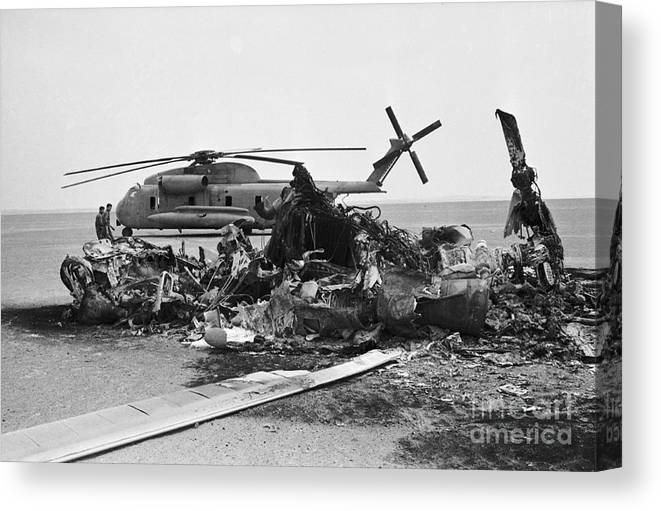 1980-1989 Canvas Print featuring the photograph Wreckage Of American Helicopters by Bettmann