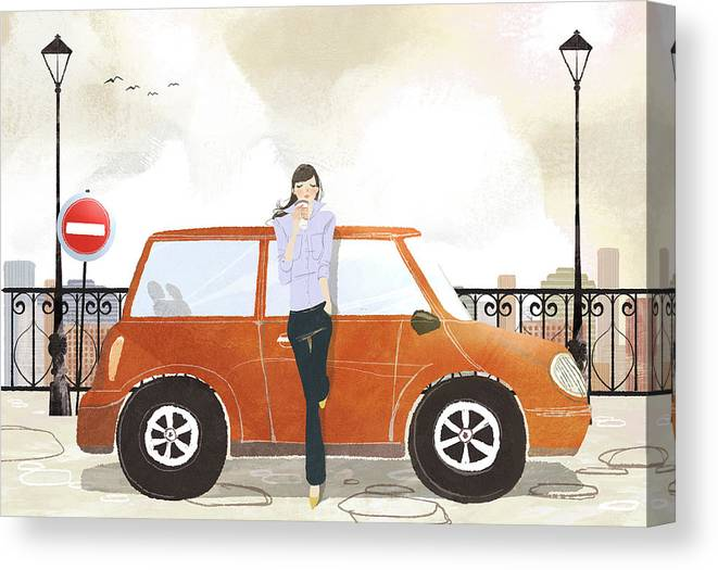 People Canvas Print featuring the digital art Young Woman Standing In Front Of Car by Eastnine Inc.