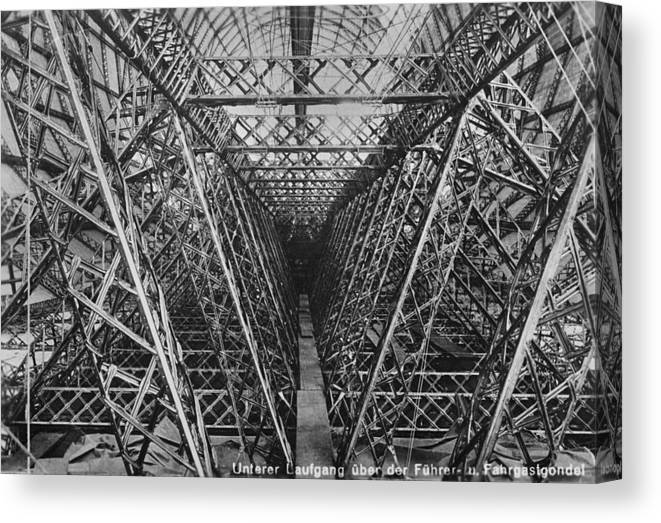 Symmetry Canvas Print featuring the photograph Zeppelin Lz 127 by Fox Photos
