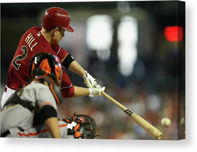 National League Baseball Canvas Print featuring the photograph Aaron Hill by Christian Petersen