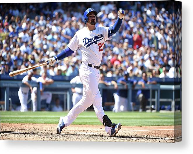 People Canvas Print featuring the photograph Adrian Gonzalez by Harry How
