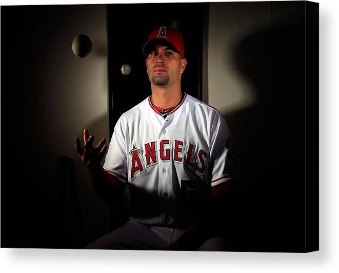Media Day Canvas Print featuring the photograph Albert Pujols by Jamie Squire