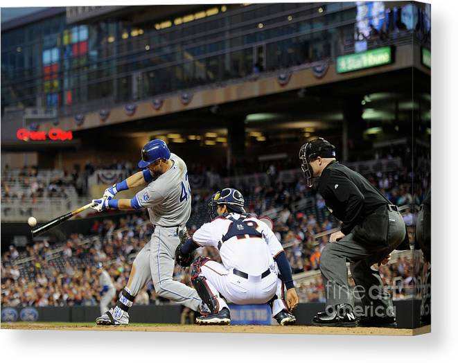 American League Baseball Canvas Print featuring the photograph Alex Gordon and Kurt Suzuki by Hannah Foslien