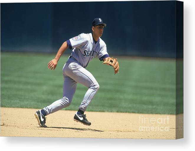 People Canvas Print featuring the photograph Alex Rodriguez by Brad Mangin