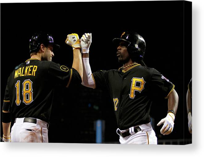 Professional Sport Canvas Print featuring the photograph Andrew Mccutchen and Neil Walker by Justin K. Aller
