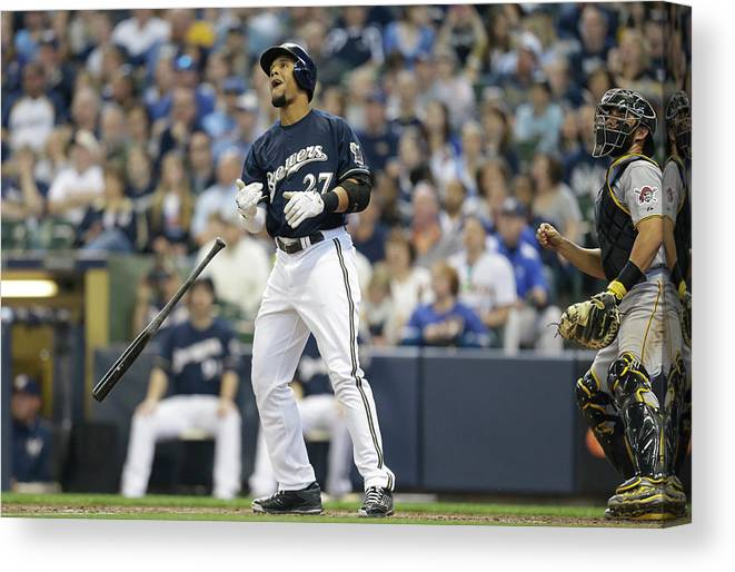 American League Baseball Canvas Print featuring the photograph Carlos Gomez by Jeffrey Phelps
