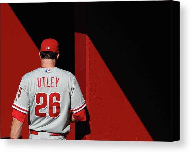 Following Canvas Print featuring the photograph Chase Utley by Christian Petersen