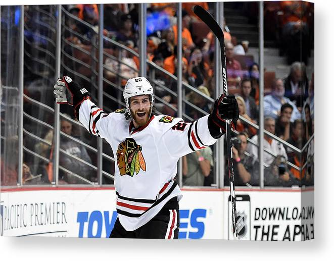 Brandon Saad Canvas Print featuring the photograph Chicago Blackhawks v Anaheim Ducks - Game Seven by Harry How