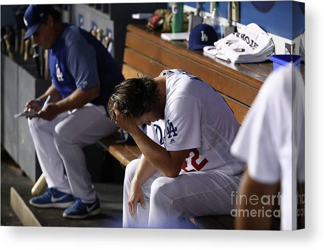People Canvas Print featuring the photograph Clayton Kershaw by Victor Decolongon