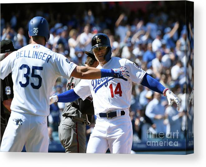 Three Quarter Length Canvas Print featuring the photograph Cody Bellinger by Kevork Djansezian