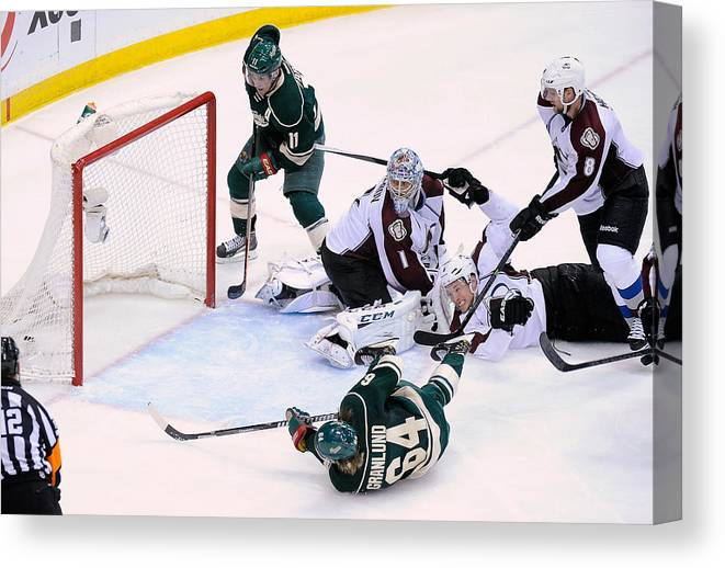 Playoffs Canvas Print featuring the photograph Colorado Avalanche v Minnesota Wild - Game Three by Hannah Foslien