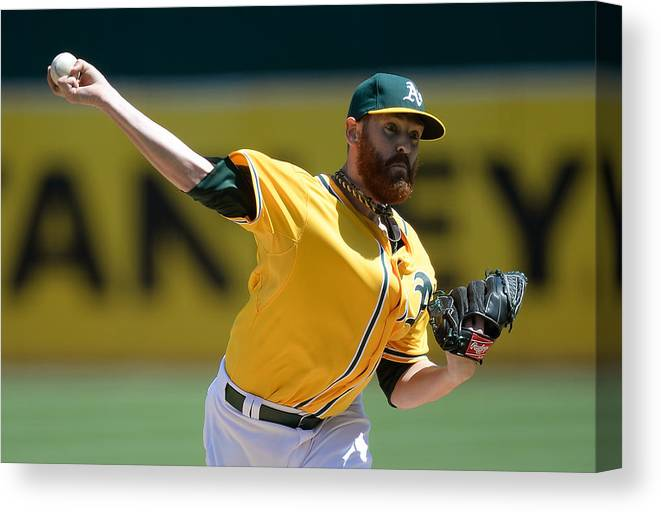 American League Baseball Canvas Print featuring the photograph Dan Straily by Thearon W. Henderson