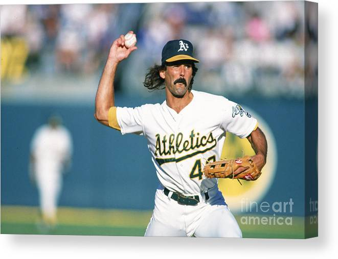 1980-1989 Canvas Print featuring the photograph Dennis Eckersley by Ron Vesely