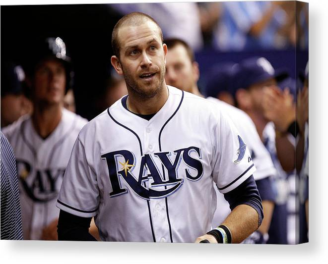 Instant Replay Canvas Print featuring the photograph Evan Longoria And James Loney by Brian Blanco
